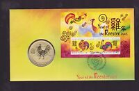 2005 Lunar Year of the Rooster 50 cent Coin & Stamp Set PNC FDC