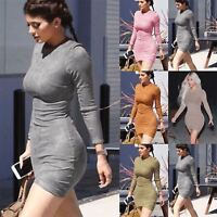 Womens Ladies Casual Long Sleeve Pencil Fit Party Round Neck Bodycon Mini Dress