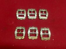 """Leather Hardware - Lot of 6 Old Silver And Copper Center Bar Berry Buckles- 5/8"""""""