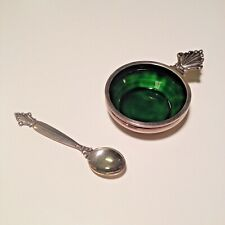 Georg Jensen Silver and Enamel Salt Cellar with Spoon