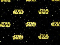 STAR WARS LOGO  COTTON FABRIC  GALAXY CAMELOT COTTONS GOLD METALLIC  BY THE YARD