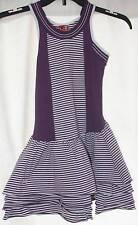 NEW No Added Sugar Hyde Park Sleeveless Bustle Dress Purple White Striped 5 6 Yr