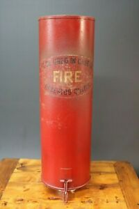 Vintage Fire Blanket Storage Canister Container Empty Prop Wall Art Industrial