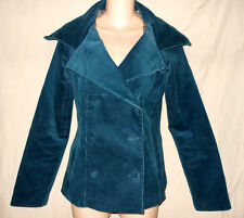 BETSEY JOHNSON USA 8 Teal Blue Corduroy Lined Blazer Jacket Coat Retro M 8