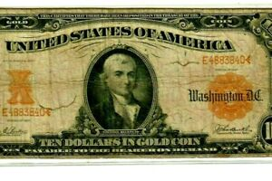"$10 ""GOLD CERTIFICATE"" 1907  $10 ""HORSEBLANKET"" (GOLD CERTIFICATE) 1907 RARE!!!!"
