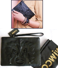 MIMCO COURAREOUS POUCH (med) SOFT BLACK LEATHER *RARE* LION MOTIF rrp$179 now$99