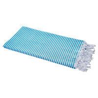 Hamamtuch Fouta Streifen türkis leicht hauchzart Pestemal 90x180 cm 100% Cotton