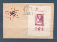 Eta/ Hongrie enveloppe bloc 33 de 1958 exposition de Bruxelles dentelé RARE