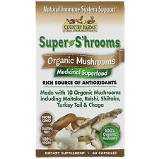 Country Farms  Super S hrooms  Organic Mushrooms  Medicinal Superfood  60