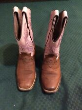 Pink & Brown Leather Little Girls Justin Western Cowgirl Cowboy Boots Sz 10 1/2