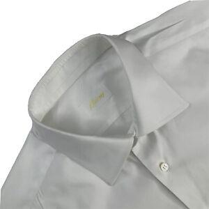 Mens 16 Brioni Solid White 100 %  Cotton Button Down Dress Shirt French Cuff