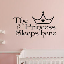 The Princess sleeps here - Wall Say Quote Word Lettering Art Vinyl Sticke Decor