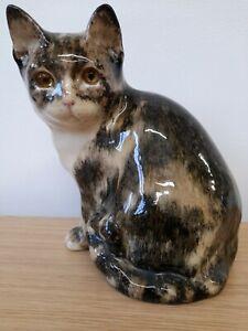 Made In England Large Ceramic Cat Figurine Beautiful Pottery Cat