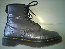 DOC DR MARTENS FINE SILVER GLITTER BOOTS RARE VINTAGE MADE IN ENGLAND UNISEX 5UK