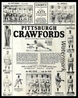 1933 Negro National League Promo Poster Pittsburgh Crawfords  8 X 10 Photo Pic