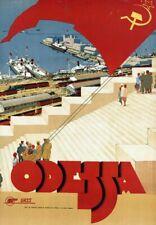 "Vintage Illustrated Travel Poster CANVAS PRINT Odessa Ukraine 8""X10"""