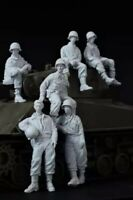 1/35 Resin Figure Model Kit US Sodliers Sherman Tank Crew no tank WWII Unpainted