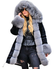 Damen Winterjacke Jacke Winter Mantel Warm Fell gefüttert Kapuze Neu S L XL-5XL