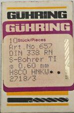 10 pezzi punta trapano elicoidale HSCO gühring D=0,600 mm,657 TI,DIN 338,NUOVO