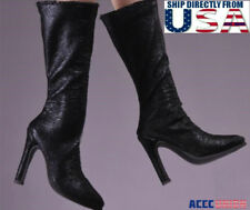 1/6 Women Black Leather Boots For Hot Toy PHICEN Female Figure U.S.A. SELLER