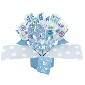 New Baby Boy Card 3D Pop Up Card New Baby Boy Gift Card