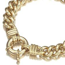 18K Yellow Gold GL Chunky Solid Womens Euro Bracelet & Life Buoy Bolt Clasp 18cm