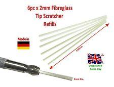 6pc Fibreglass Scratching Refills 2mm x 110mm Eraser Original German Made