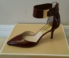 Michael Kors Guiliana Mid Ankle Strap Claret Leather HEELS Women Size 6.5 M