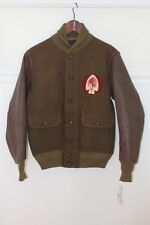 RRL Mens Leather Wool Ross Varsity Jacket XS $690 Ralph Lauren Indian Chief Polo