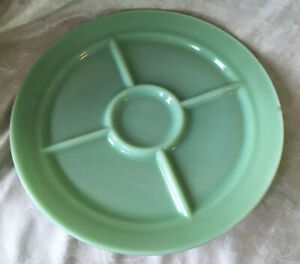Jadeite Fire King 5 Compartment Divided Restaurant Dinner Grill Plate ~ Chipped