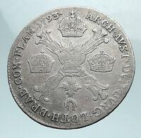 1793 AUSTRIAN NETHERLANDS Belgium Emperor Franz I Silver 1/4 KronenT Coin i81074