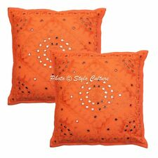 Orange Mirror Cushion Cover Indian Embroidered Cotton Pillow Case Cover Throw