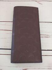 NWT Coach F75365 Mens Signature Mahogany Crossgrain Leather Beast Pocket Wallet