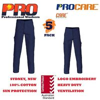 5 x Cargo pants 100% Cotton Drill Heavy Duty 8 pockets SAFETY WORKWEAR 311gsm