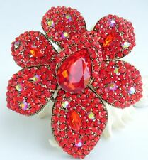 "4.33"" Gorgeous Red Austrian Crystal Teardrop Flower Brooch Pin Pendant 04043C8"