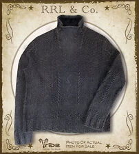 RRL Ralph Lauren Mens Thick Black Indigo-Dyed Rollneck Fisherman Sweater was$645