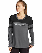 Champion T-Shirt Tee Womens Long Sleeve Script Logo Striped 2 Color sz XS-2XL