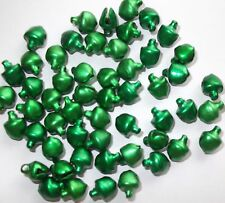 100 x  Green mini Jingle Bells 6mm x 8mm