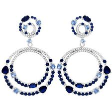 Sterling Silver Lab-created Blue Spinel with CZ's Double Open Circles Earring