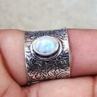 Meditation Spin Spinner Moonstone Ring Sterling Silver Wide Band Ring Jewelry