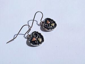 Vtg C. Co Coleman Black Hills Gold Sterling Silver 12K Rose Gold Heart Earrings