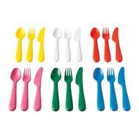 Ikea New Kalas Children 18-piece cutlery set. Plastic Assorted Colour Kids