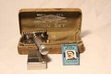Vintage Gilette Razor Khaki Set Vtg Gillette Blades Blade Bank Case