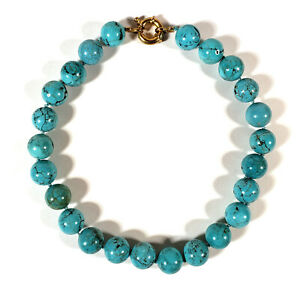 BRIGHT TURQUOISE BLUE VEINED HOWLITE STONE BEADED STRAND NECKLACE 15 MM BEADS