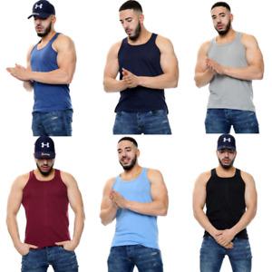 2X MENS VESTS 100% Cotton TANK TOP SUMMER TRAINING GYM TOPS PACK PLAIN S-2XL