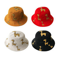 Baby Fisherman Cap Bucket Hat Wide Brim Daily Toddler Cute Giraffe Sun Hat B3