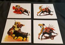 4 Ceramic Tiles with Oil Hand Painted Spanish Matador Torero Bullfight vintage