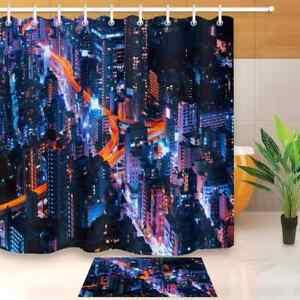 Night Scene Waterproof Bathroom Polyester Shower Curtain Liner Water Resistant
