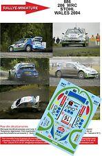 DÉCALS 1/43 réf 886 Peugeot  206  WRC STOHL  WALES 2004