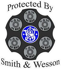 Smith & Wesson Protected By Decal Pair Graphic Window Bumper Sticker